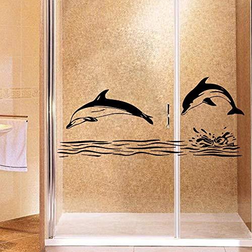 Dusche Tester (wlwhaoo Retro Delphin Wandaufkleber Kreative Für kinderzimmer Dekoration Wohnzimmer Schlafzimmer dusche Decor Wandtattoo wandaufkleber schwarz XL 58 cm X 25 cm)