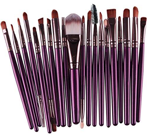 Bigood Pro Maquillage 20pcs Ombre Pinceaux Poudre Yeux Foundation Lèvre Outil Pinceau