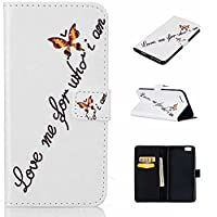 iPhone 6s / iPhone 6 Case, KKEIKOŽ iPhone 6 / iPhone 6s Wallet Case [with Free Tempered Glass Screen Protector], Elegant PU Leather Flip Cover Case, Book Style Wallet Holster Case with Shock-Absorption Cover for Apple iPhone 6 / iPhone 6s (Butterfly)