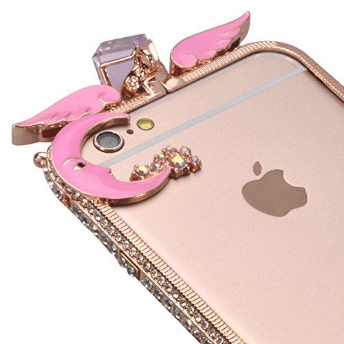 Glitter Étui Housse pour iPhone 6/6S (4.7 inch) + [Support d'Anneau], Bonice Cristal Clair Miroir Cas Case avec 360 Degrés Rotation Bague, Luxe Bling Sparkle Strass Souple Soft Gel TPU Caoutchouc Bump G - Or rose