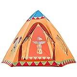 Xytent enfants Tente de jeu avec indien Totem, facile à Configurer, pêche Tissu indien Teepee hexagonale Maison de jeu jouet pour usage intérieur et extérieur 154,9cm (D) x 121,9cm (H)