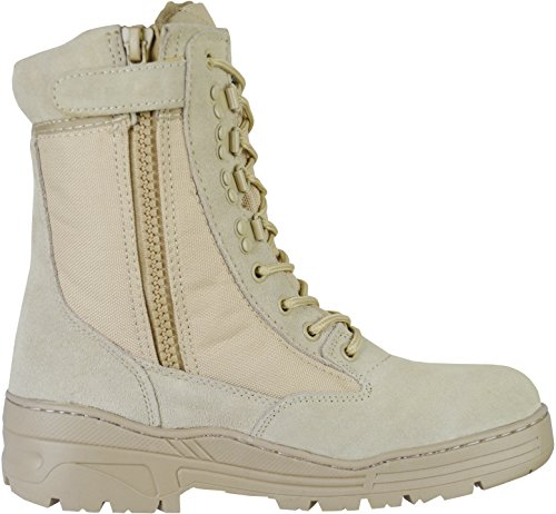 Desert Army Combat Patrol Side Zip Tactical Boots Military Lightweight Suede Leather...