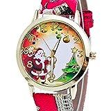 Frauen Uhren,Moeavan Frauen Weihnachten ältere und Baum Muster neue analoge Damen Armbanduhren Mädchen Uhren Leder weibliche Uhren (rot)