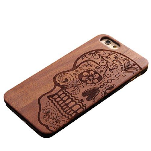 Amison Natural tallada de madera, carcasa para iPhone 6/6S de 4,7 pulgadas de cráneo de proteger, madera, negro, iPhone