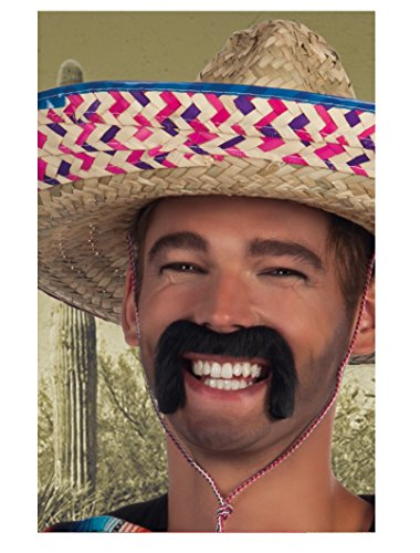 Black Mexican Stick On Moustache Fancy Dress Accessory (Moustache Fancy Dress)