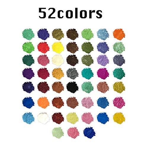 Ganmaov Mica Powder 52 Color Pigment Powder Colorante De Jabón De Grado Cosmético Para Bricolaje Limo Limo Natural Pigmento En Polvo Para