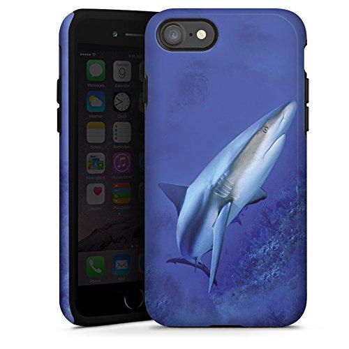 Apple iPhone X Silikon Hülle Case Schutzhülle Raubfisch Hai Weißer Hai Tough Case glänzend