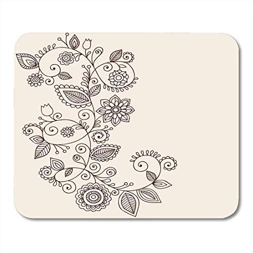 Mauspad Bordüre Floral Abstrakt Henna Mehndi Ranken Blumen Paisley Stil Kritzel Tattoo Swirl Mauspad