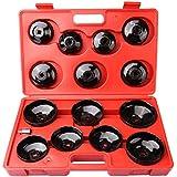iglobalbuy 15pcs filtro de aceite Removal Tirador Juego de vaso herramienta Socket Tipo Adaptador Garaje