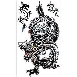 SHIHAN dragón negro tatuaje temporal tatuajes Flash tatuaje pegatinas tatuaje 17 * 10 cm impermeable