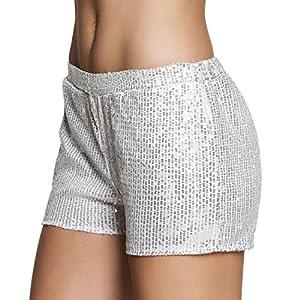 Boland Pantalones cortos con brillantes plateados para mujer