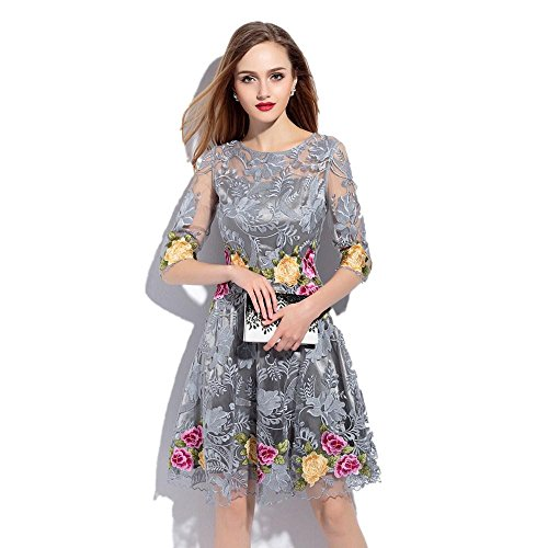 YZXH Frauen Europa und die Vereinigten Staaten Frühjahr und Sommer Netzwerk Garn Stickerei kurzärmeligen Spitze Kleid / Slim Rock grau / schwarz / Aprikose , gray , m