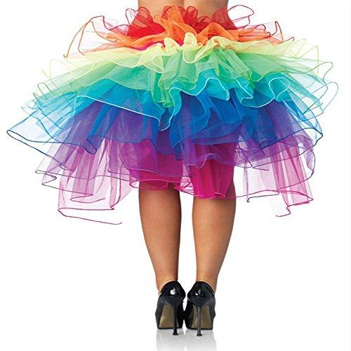 Regenbogen Rock Damen Mädchen Regenbogen Tutu Unterwäsche Blase Rock Dancewear Kostüm Petticoat Rainbow Skirt Tüllrock Partykleid ()