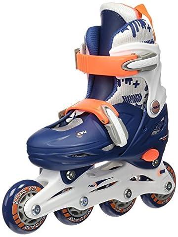 Schreuders Sport Nijdam Junior Hardboot Adjustable Inline Skates, Polyamide - Navy blue/White/Orange,