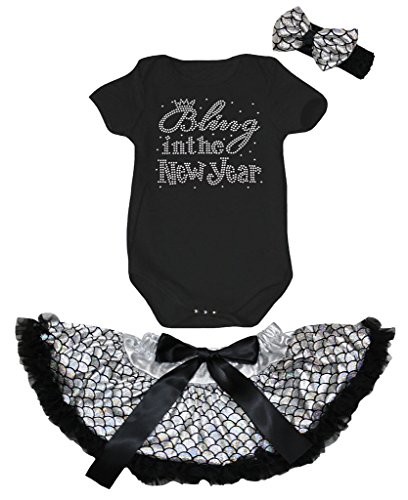 Petitebelle Bling In The New Year Black Romper Silver Scales Baby Skirt Nb-12m (6-12 Months)