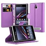 Cadorabo Hülle für Sony Xperia E1 Hülle in Mangan Violett Handyhülle mit Kartenfach und Standfunktion Case Cover Schutzhülle Etui Tasche Book Klapp Style Mangan-Violett