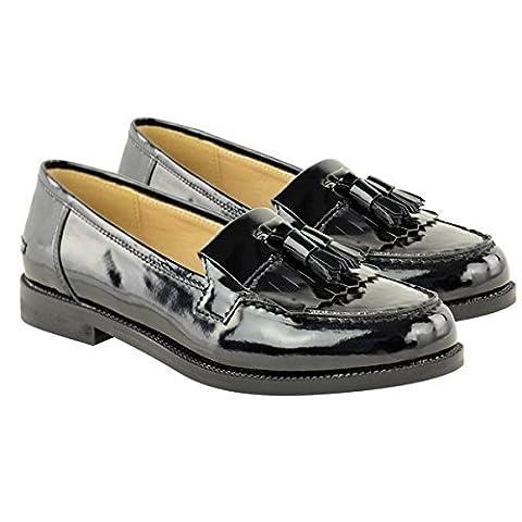 OUTOFGAS CLOTHING POMPONS LOAFERS PLAT SMART CASUAL L'ÉCOLE, LE TRAVAIL DE BUREAU TAILLE - - Black Patent / Tassel,