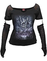 Rocher éternel, Mesdames fantaisie en métal gothique supérieure avec manchon en tissu à mailles amovible noir - L - Spiral