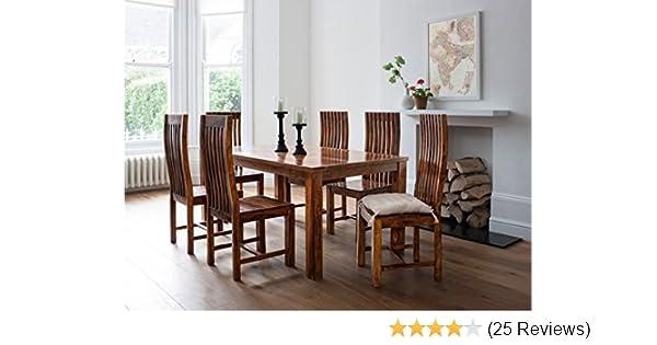 8e9d9728a00 Lifeestyle Handcrafted Sheesham Wood 6 Seater Dining Set (Honey Medium)   Amazon.in  Electronics