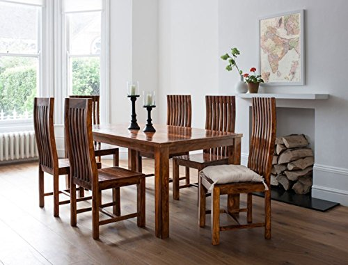 Handcrafted Sheesham Wood 6 Seater Dining set (Honey Medium)