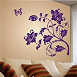 Wall Sticker For Bed Room Kids Room Living Room Hall Walls 'Vine Flower' Wall Sticker (PVC Vinyl, 50 Cm X 70 Cm, Purple) By FRIENDS OFFICE AUTOMATION