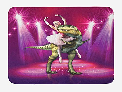 OQUYCZ Animal Bath Mat, Ballerina Dancing with a Dinosaur Under Neon Stage Unusual Absurd Image Print, Plush Bathroom Decor Mat with Non Slip Backing, 23.6 W X 15.7 W Inches, Hot Pink Purple