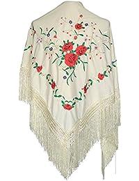 La Señorita Mantones bordados Flamenco Manton de Manila blanco con rosas rojas
