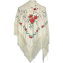 45712227e927 La Senorita Foulard Ceinture Chale De Danse Flamenco Broderie Frange blanc  roses rouge