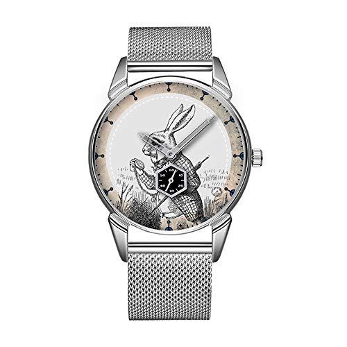 Mode wasserdicht Uhr minimalistischen Persönlichkeit Muster Uhr -967. weißes Kaninchen Alice (im WunderLand) Email Watch