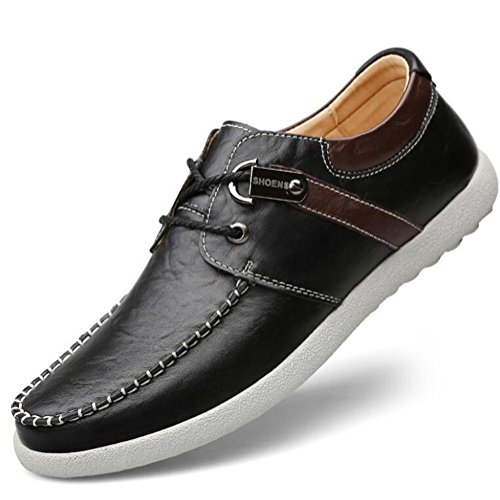 Loafer Weichen Sohlen Leder Schuhe (Männer Schuhe Leder Casual Lace Up Boot Clipper Loafers Weiche Sohle Größe 38 To 44 , Black , EU44)