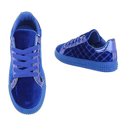 Sneaker Top Freizeitschuhe Schnürsenkel Sneakers Low Blau Ital Damenschuhe Top Low Design RS5qZq