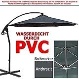 habeig Luxus Ampelschirm 3m Anthrazit Wasserdicht durch PVC Schirm 300cm Sonnenschirm