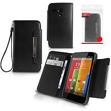 Orzly® - Faux Leather Wallet Case per MOTO G - FUNDA / CAJA con CARTERA + BILLETERA + SOPORTE INTEGRADO y Tapa magnético - Carcasa de protección en NEGRO Efecto de Cuero - Diseño exclusivo para MOTOROLA MOTO-G SmartPhone / Teléfono Móvil (todos los modelos incl: 2013 modelo + 2014 versión de dispositivo)