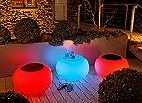 Bubble, Akku, LED beleuchteter Tisch / Sitzhocker, mit Sicherheitsglasplatte,  68 cm, H 41 cm, Oberfläche  40 cm, Polyethylen, seidenmatt, weiß, mit Vielfarben LED, mit Fernbedienung und Akku, für Außen