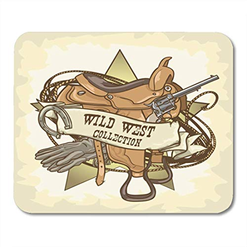 HOTNING Gaming Mauspads Gaming Mouse Pad Cowboy Wild West Vintage Rodeo Western Ranger Old Sign Texas 11.8