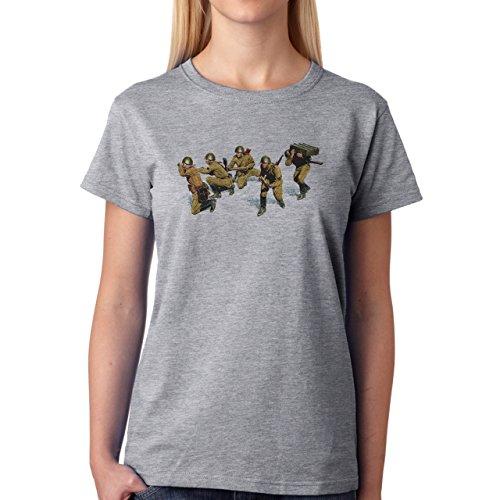 Soldiers Painting Art Soviet Artillery Army Damen T-Shirt Grau
