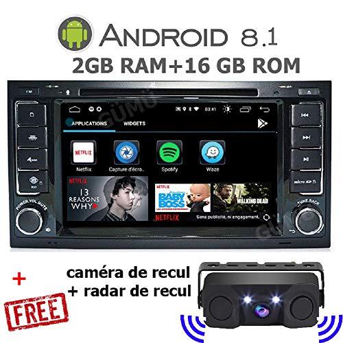 GÜMÜ-PX5PROAT08-Autoradio Compatible avec Volkswagen VW Touareg/VW Transporter/VW T5 Multivan Android 8.0 Quad Core + 2GB RAM+ 16GB ROM Navigation GPS, Écran Tactile DE 7\