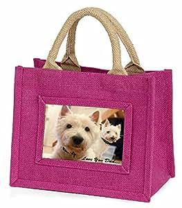 Advanta–Mini Pink Jute Tasche Westies 'Love You Dad' Little Mädchen klein Einkaufstasche Weihnachten Geschenk, Jute, pink, 25,5x 21x 2cm
