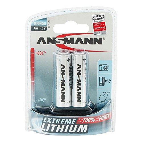 ANSMANN Extreme Lithium Batterie AA Mignon 2er Pack - 1,5V, LR6 - hohe Kapazität, extrem leich, 700% mehr Power