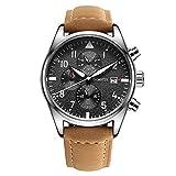 RAN-R-Reloj Multifuncional de Cuarzo con Pantalla de Tres Ojos en Acero Inoxidable, Brown