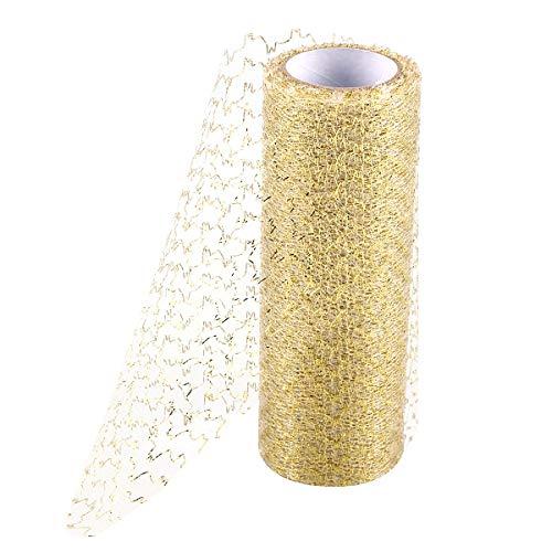 BESTOYARD 15,2 cm Tüll-Rollen Organza DIY Nähzubehör für Stuhl Schärpe Schleife Spule Tutu Rock Hochzeit Dekoration 10 Meter (weiß golden) -