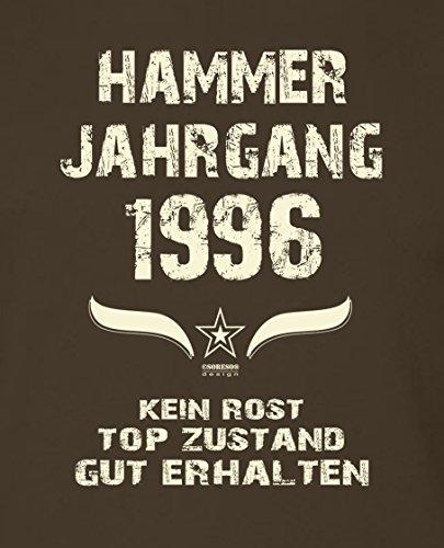 Modisches 21. Jahre Fun T-Shirt zum Männer-Geburtstag Hammer Jahrgang 1996 Ideale Geschenkidee zum Jubeltag Farbe: braun Braun