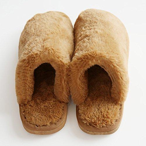 DogHaccd pantofole,Caldo inverno uomini e donne matura cartoon pacchetto con extra spessa simpatico peluche anti-slittamento home indoor pantofole di cotone Il caffè1