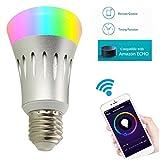 Unitify LED Smart ampoule Wifi Fonctionne avec Amazon Alexa Echo et Google Home Minuteur ampoule E27/E26 domotique à couleur changeante, à intensité variable, Programmez, Choix de scène, APP contrôle à distance par smartphone Android/iOS (économie d'énergie), argenté, E27, 7.00 W 265.00 voltsV (Argent) [Classe énergétique A+]
