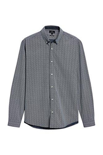 next Uomo Camicia A Maniche Lunghe Con Doppio Colletto E Motivo Vestibilità Regular Blu Navy
