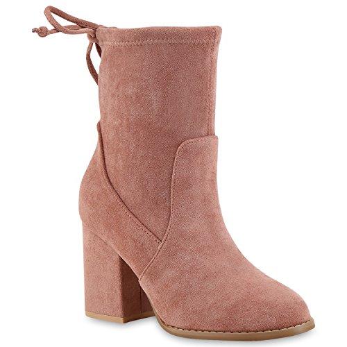 Stiefelparadies Damen Stiefeletten Stiefel Schlupfstiefel Schleifen Freizeit Schuhe 145893 Rosa Schleifen 39 | Flandell® (Kurz-stiefel)