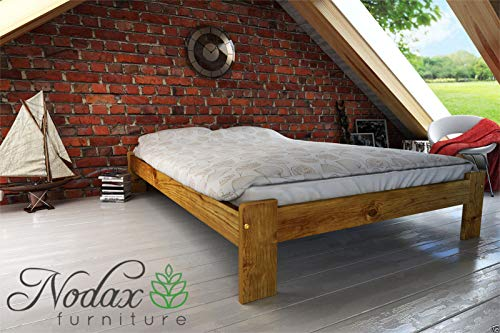 wooden solid pine bedframe F15 with sturdy plywood slats (135 x 190 cm, oak)