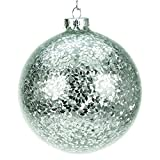 Large Glass Christmas Tree Bauble with Silver Confetti (10cm)
