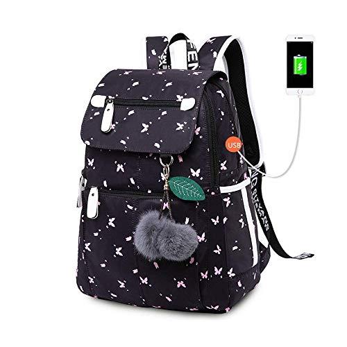 DX Schule Rucksack weibliche Mode Schule Rucksack USB Schultaschen für Mädchen schwarz Rucksack Plüsch Ball Mädchen Schultasche Schmetterling Dekoration -
