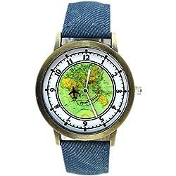 SSITG Women's Clock Watch Denim Wedding Band World Map Analog Quartz Business Watch Gift Gift